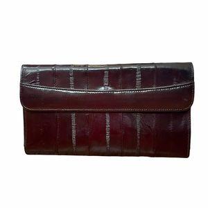 NWT Vintage Eel Skin Burgundy Long Wallet